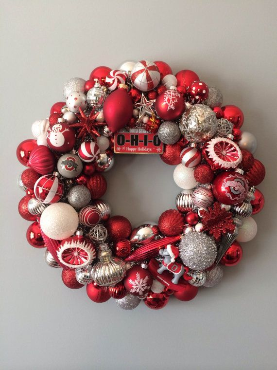 Ohio State Buckeyes Silver and Red Ornament Wreath. Adorable.