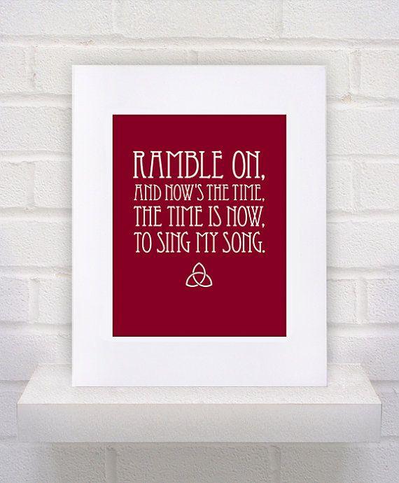 Led Zeppelin Lyrics  Ramble On  11x14  poster print by KeepItFancy, $10.00