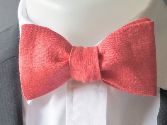 Deep Coral Pink  / Salmon Pink linen bowtie -  classic self tie / freestyle mens bowtie