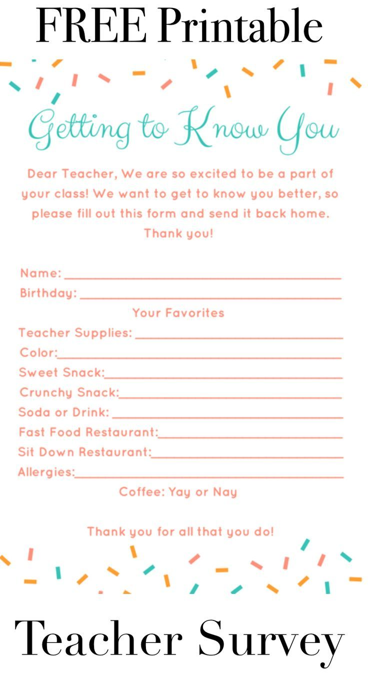 This is great to give your child's teacher at the beginning of the year or whenever to find out some of their favorite things. This helps when finding gifts for them. Teacher Survey with FREE Printable: