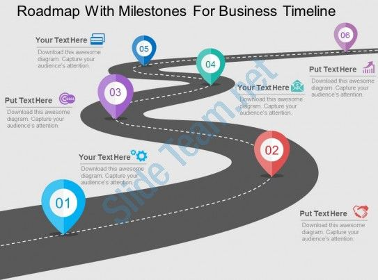 roadmap with milestones for business timeline flat powerpoint design Slide01