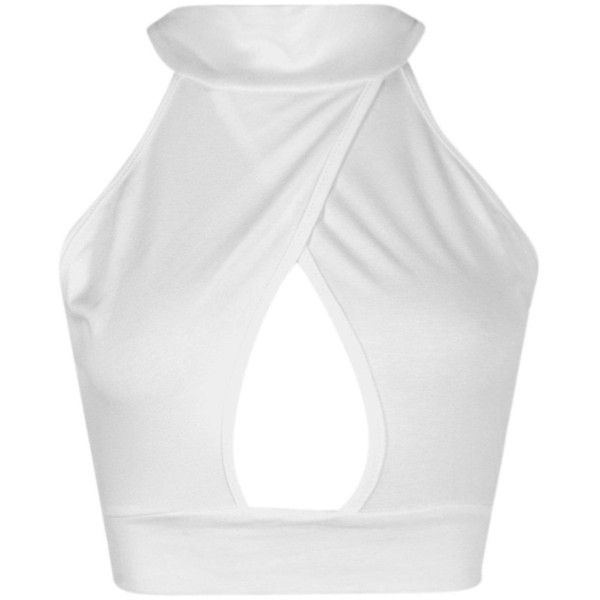 Boohoo Eliza Wrap Over High Neck Cut Out Crop | Boohoo (34 BRL) ❤ liked on Polyvore featuring tops, white body suit, off shoulder crop top, metallic crop top, white crop top and lace cami top