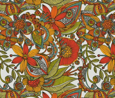 Flowers and Doodles fabric by valentinaharper on Spoonflower - custom fabric