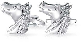 Bling Jewelry Rhodium Plated Mens Equestrian Animal Horse Cufflinks.