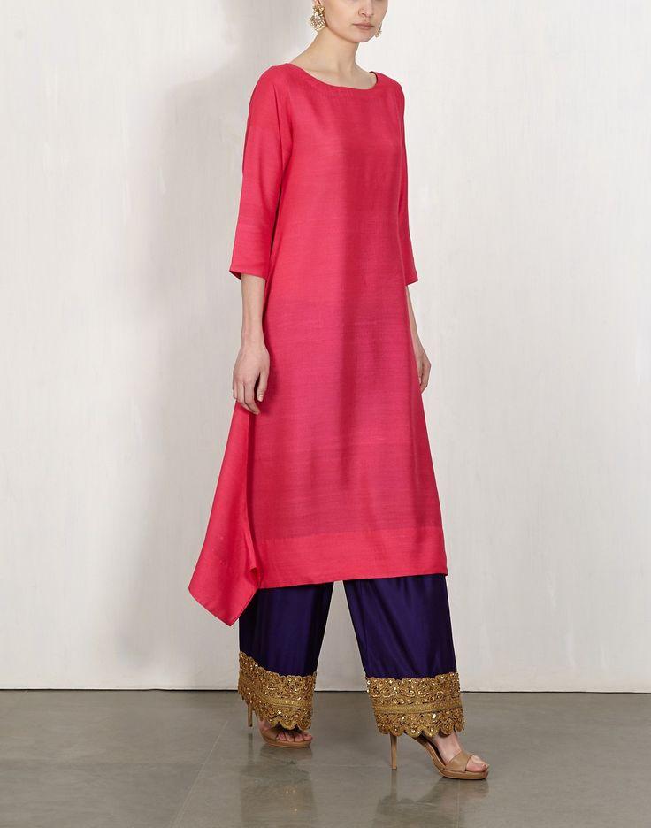 Pink Kurta With Embroidered Pants-Lajjoo C- img3