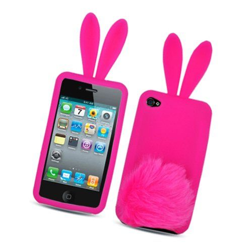 Hot Pink Bunny with Fur Tail Design Snap on Soft Silicon Skin Cover Case for Apple Ipod Touch Itouch 4 4g 4th Gen Cellular Connection