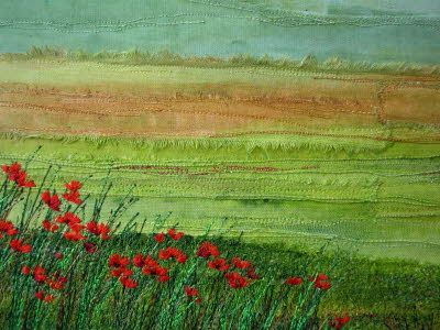 """Poppy Field"" textile art with raw edges and stitching from Wendy Dolan, UK"