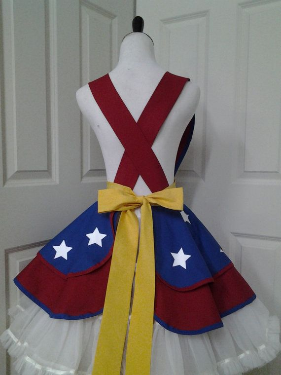 Female SuperHero Cosplay Retro Pin Up Apron by PandorasProductions
