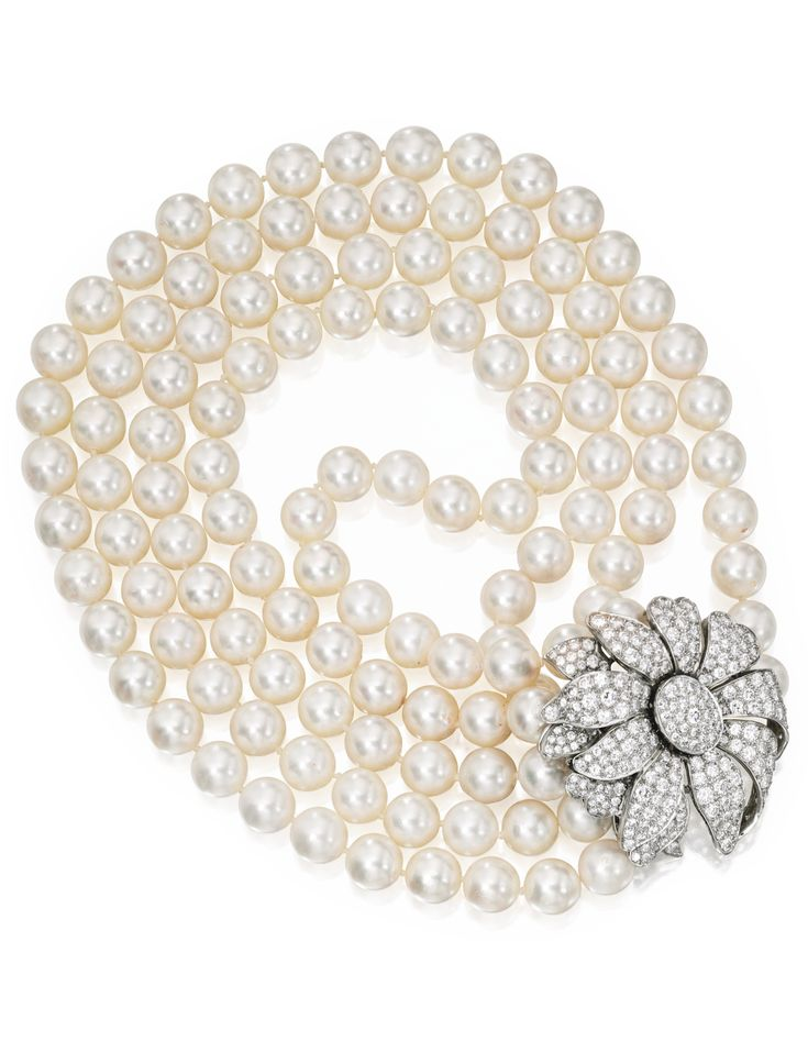 Cultured Pearl and Diamond Necklace – The four str…