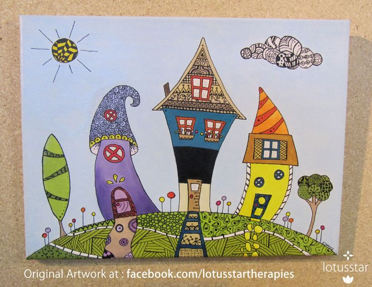 'Quirky House Hill' zentangle art in acrylic and ink on stretched canvas by Elizabeth James. Original available via http://www.facebook.com/media/set/?set=a.675692062503221.1073741835.318539891551775&type=3  #quirkyhouses #acrylic #village #house #zentangle #ink #artforsale #elizabethjames #lotusstar #adelaide