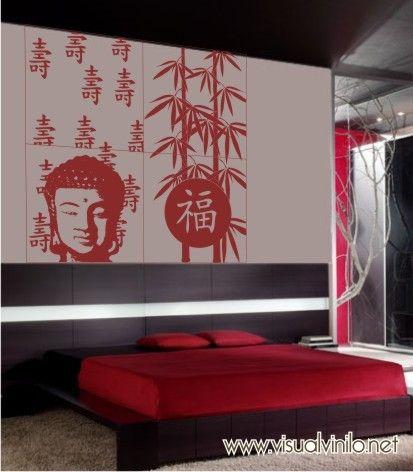 Vinilo Decorativo Zen, uno de los diseños clásicos de nuestra colección con buda y bambú. http://www.visualvinilo.net/vinilos-decorativos/vinilos-decorativos-etnico/