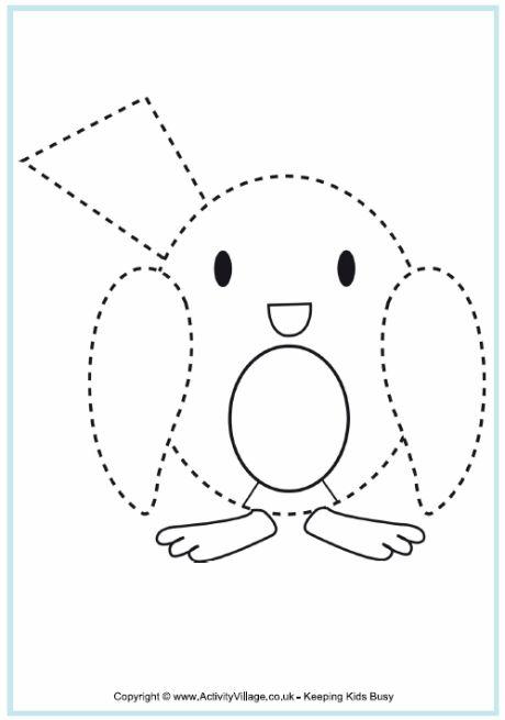 Robin Tracing - Christmas Printables For Kids