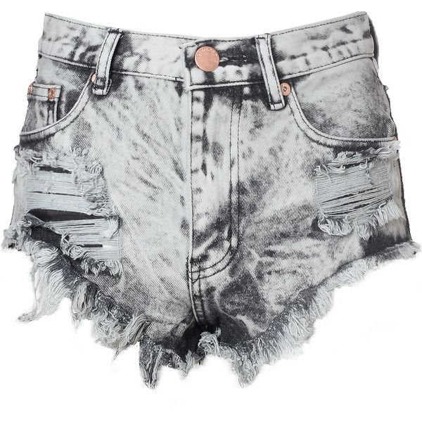 Grey Acid Wash Frayed Denim Hotpants (£30) ❤ liked on Polyvore featuring shorts, bottoms, pants, short, grey, high-waisted cut-off shorts, short shorts, high rise denim shorts, hot pants and denim short shorts
