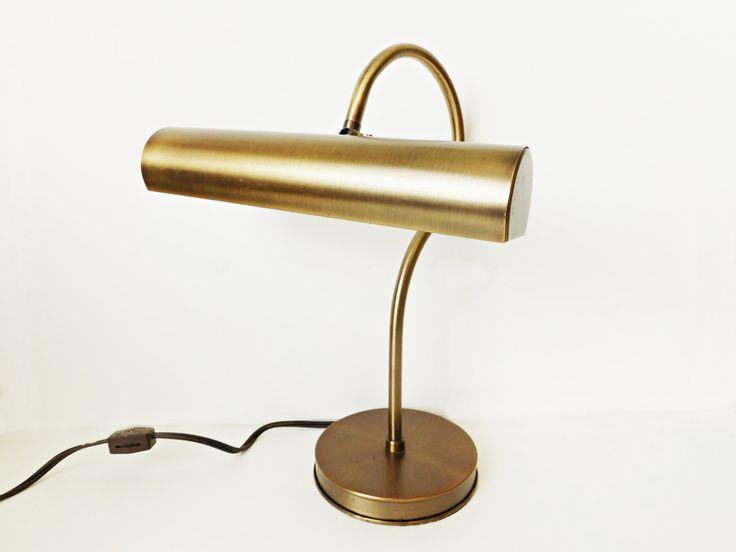 Vintage Brass Gooseneck Lamp, Brass Office Desk Piano Lamp w Adjustable Shade…