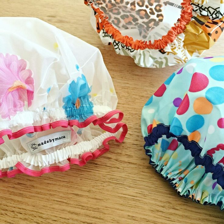 Life is short, use a pretty shower cap with frills! www.madebymaca.com