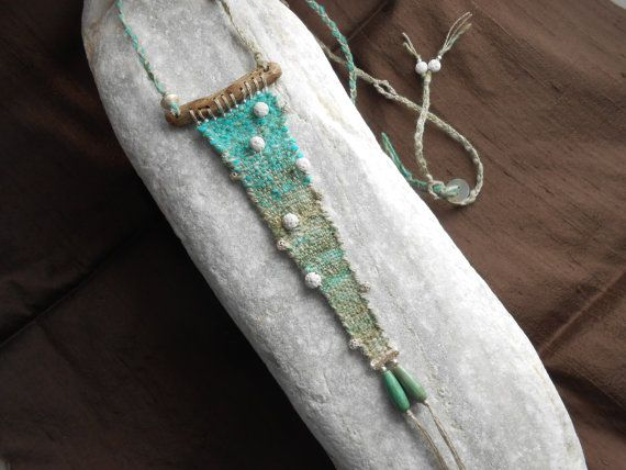 Hand Woven Necklace **let it snow** - Tapestry Miniature with Driftwood, Silver, white Lava, green Agate - textile jewelry - fiber art