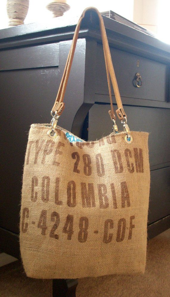 "Coffee bean sack tote bag by sidneyann on Etsy, with ""Colombia"" written....worth a million ! :)"