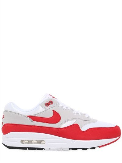 NIKE AIR MAX 1 ANNIVERSARY EDITION SNEAKERS, OFF WHITE/RED. #nike #shoes #sneakers