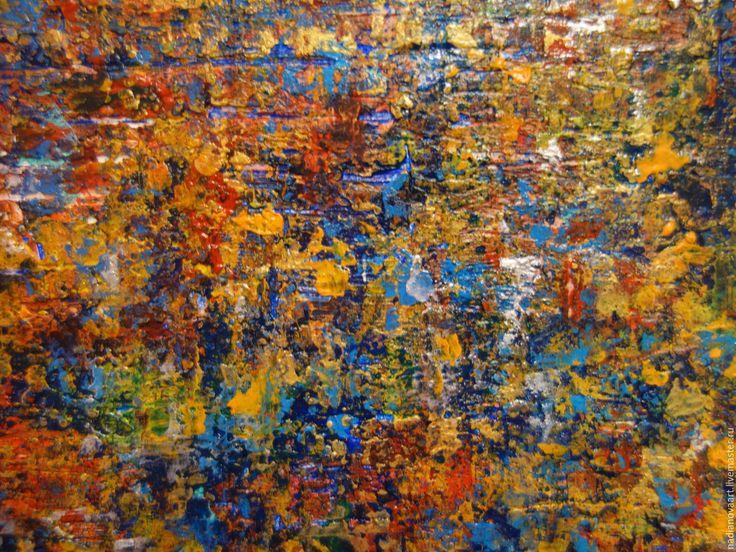 Купить Абстракция текстурная квадратная акрилом 20/20 см - золотой, золотая абстракция, желтая абстракция