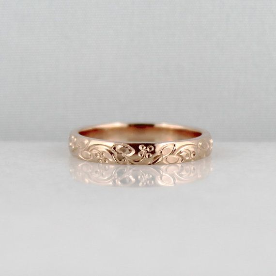 Hand made in my studio using 14K rose gold patterned gold stock, this wedding band will complement your vintage style wedding and feminine style.