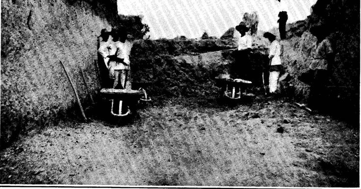 Antipolo Extension construction photos. Rock cut at San Felipe Neri (now Mandaluyong City), Antipolo Extension Approach to crossing of San J...