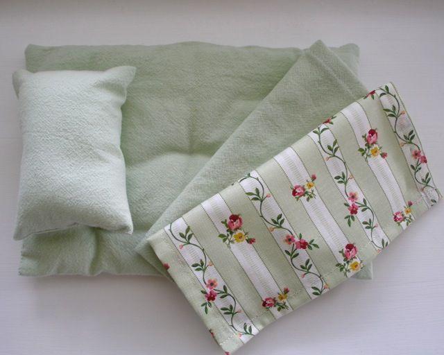 green linen set for cloth dolls