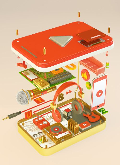 "3D illustration for YouTube Art Night.""Inside Play Button"" by Ryogo Toyodahttp://rgtd.net/"