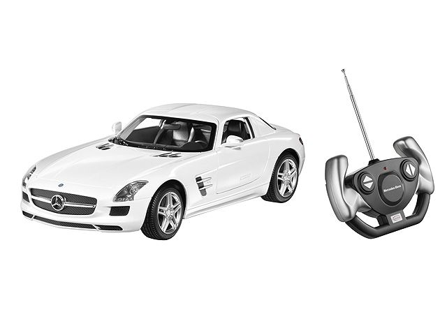 SLS AMG Coupé C197 white B66960344 SLS AMG Coupé, C197, various colours. Plastic. Scale 1:14. Remote-control model (27 MHz).  Detailed replica based on original CAD data. AMG 5-twin-spoke light-alloy wheels. Accurate, high-quality, printed interior.  Gullwing doors can be opened. By Rastar for Mercedes-Benz. Age 3+