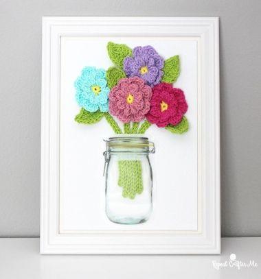 DIY Dimensional crochet flower artwork - free crochet patterns // Térbeli horgolt virágok befőttesüvegben (falikép) - kreatív ajándék // Mindy - craft tutorial collection // #crafts #DIY #craftTutorial #tutorial