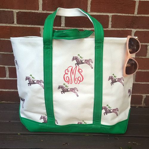 Saddle and Horse Print Monogrammed Canvas by SEmbroideredBoutique