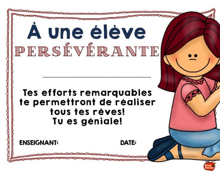 La persévérance est méritoire, diplôme de fin d'année pour chaque élève en fonction de ces qualités.