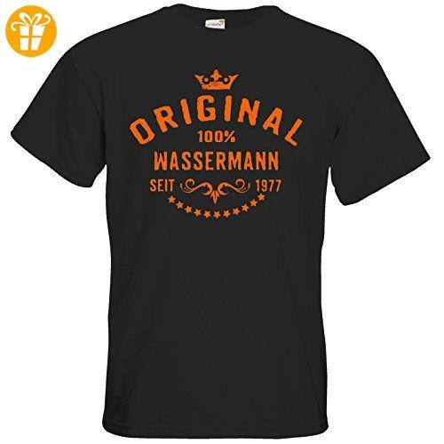 getshirts - RAHMENLOS® Geschenke - T-Shirt - Sternzeichen 100 Prozent Wassermann Geburtsjahr 1977 - black L - T-Shirts mit Spruch   Lustige und coole T-Shirts   Funny T-Shirts (*Partner-Link)
