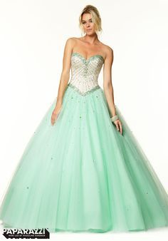 Paparazzi by Mori Lee prom dress 97017, Beige/Mint size 16, Ball Gown