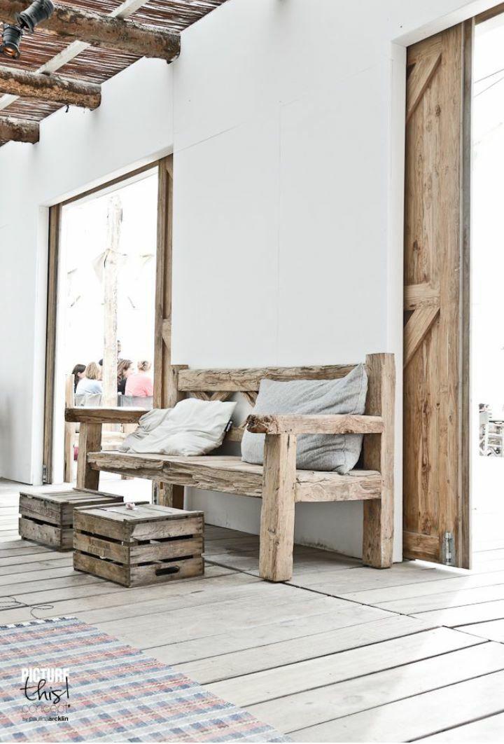 Sliding door. Wood & white.