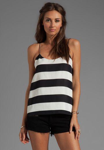 TIBI Striped Cami in Black/Ivory Multi