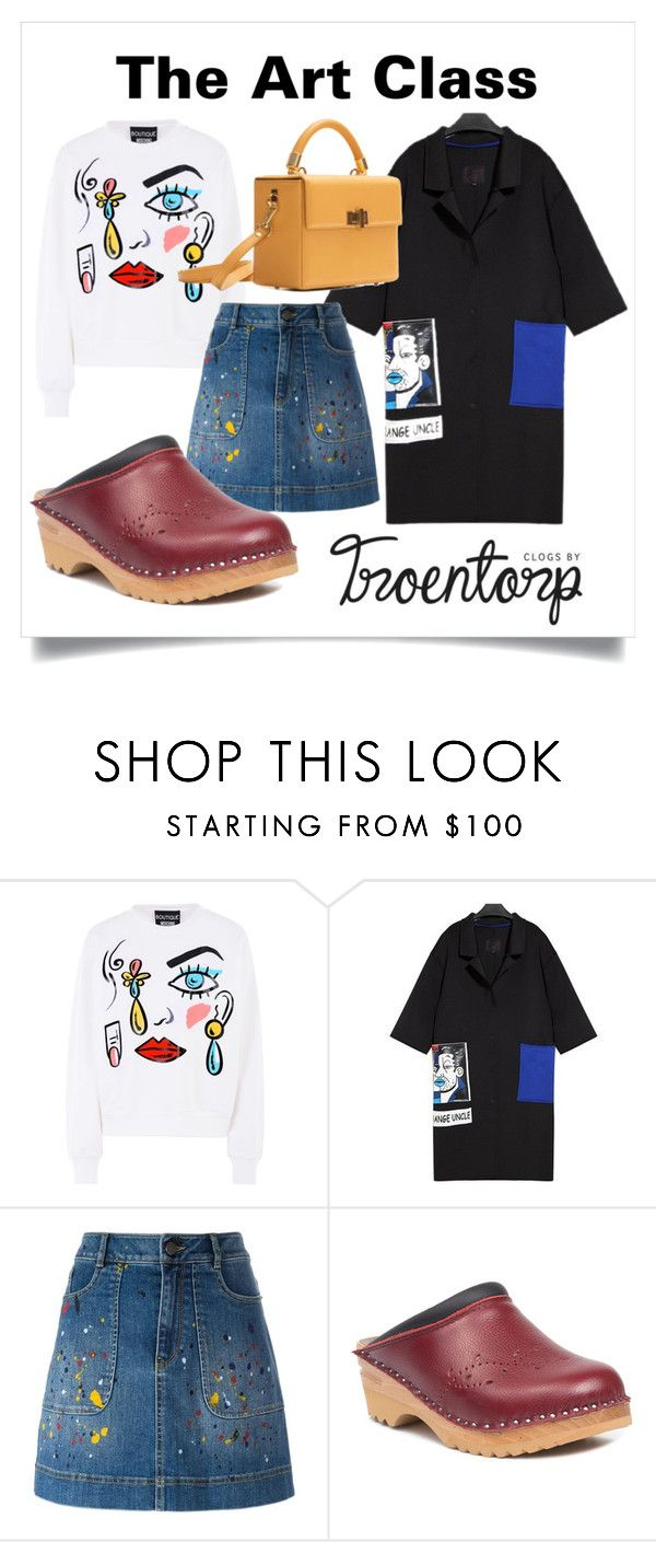 """""""The Art Class"""" by troentorp ❤ liked on Polyvore featuring Boutique Moschino, Alice + Olivia, Troentorp, Hédara, jeans, bordeaux, winterstyle, woodenclogs and troentorp"""