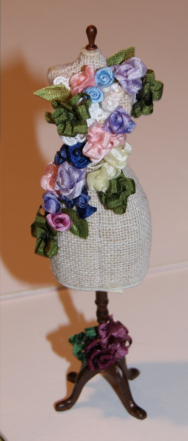 Miniature Flower Bedecked Mannequin, Free Shipping.  via Etsy.