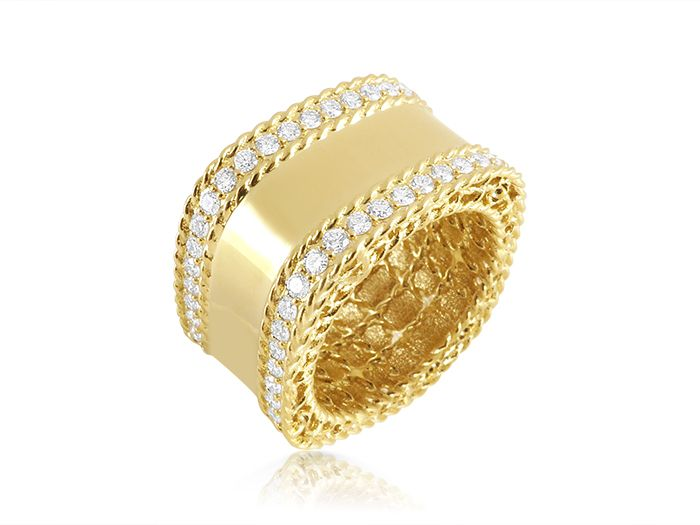 Roberto Coin 18K Yellow Gold Princess Diamond Band, Featuring Round Diamonds =.95cts Total Weight