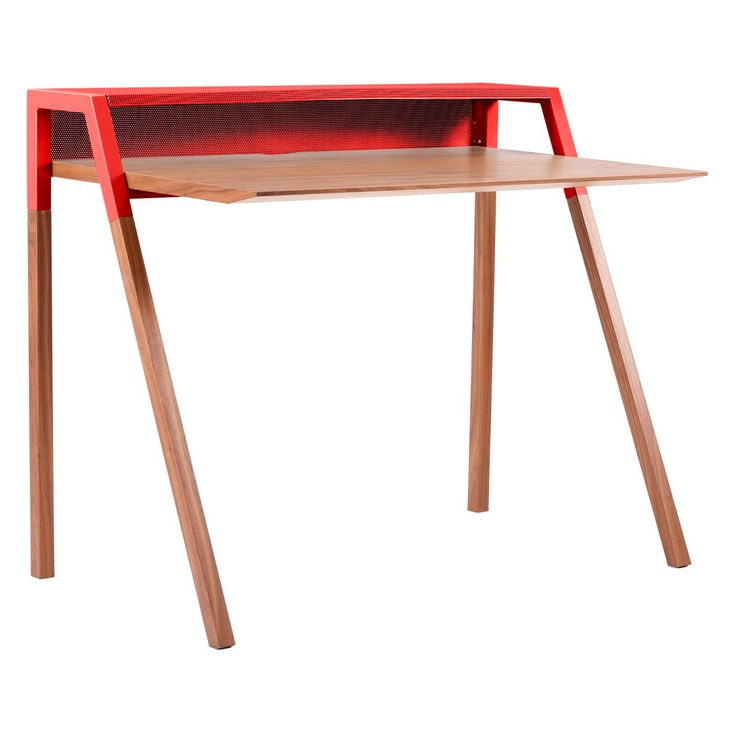 Blu Dot Cant Desk Walnut And Red