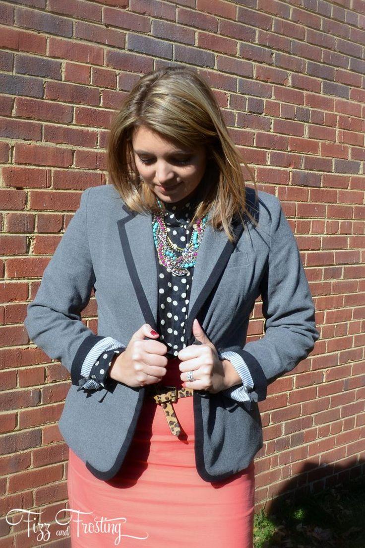grey blazer, polka dots, pink skirt