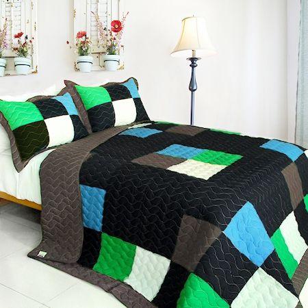 Minecraft Style Teen Boy Bedding Twin Quilt Set Blue Green Black Block Patchwork Bedspread #kidsroomstore