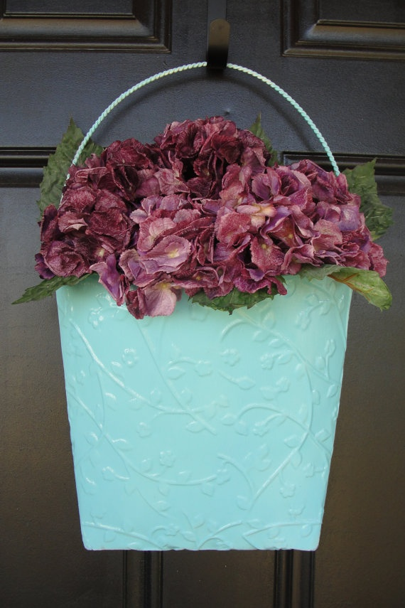 Purple Hydrangeas Shabby Chic Aqua Door or Wall by AbbiesFlowers: