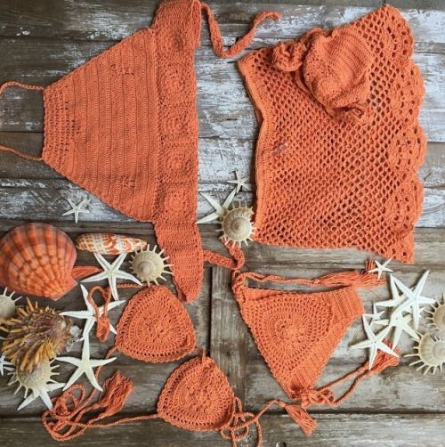☮ American Hippie Bohéme ☮  Orange Boho ☮ Crochet Bikini outfit