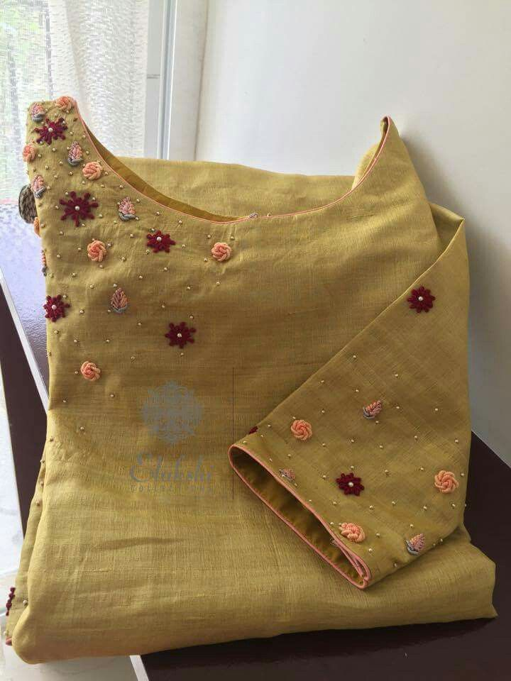 Beautiful beige kurti  with embroidery