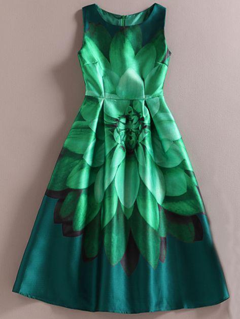 Green Sleeveless Florals Flare Dress