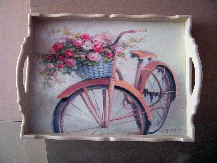 bicicleta decorativa artesanal bandeja de madeira do vintage por limaartdesign