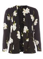 Womens Black Lily Floral Cover Up- Black
