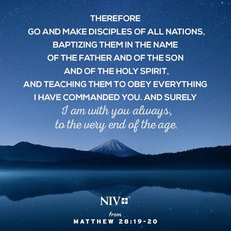 NIV Verse of the Day: Matthew 28:18-20                                                                                                                                                                                 More
