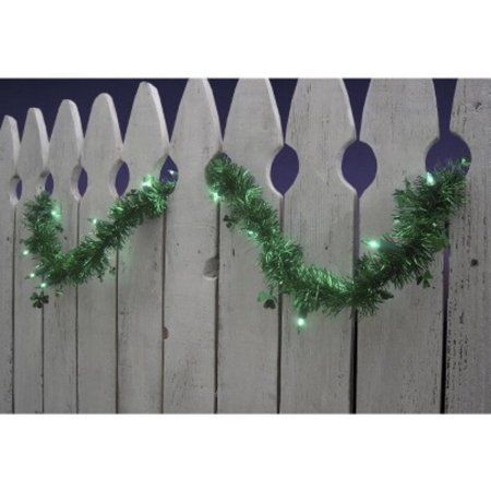 9' Pre-Lit Green Shamrock St. Patrick's Day Tinsel Garland - Green Lights
