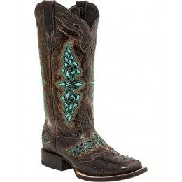 M4883WF 515.00 Luccheses Ladies Cowboy Boot Chocolate Full Quill Ostrich